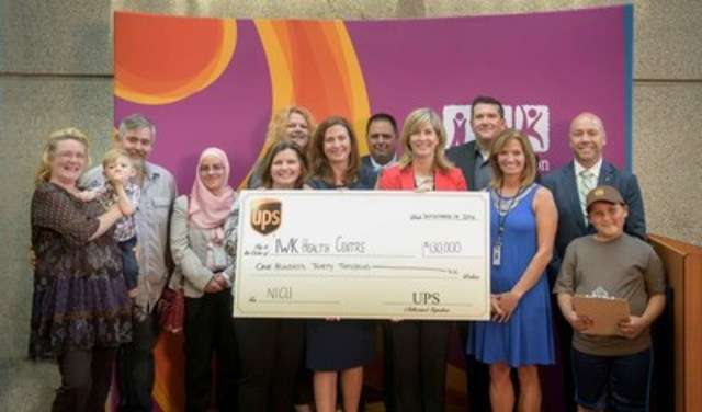 On September 14, UPS Canada donated over $130,000 CAD to the IWK Health Centre in support of redeveloping its Neonatal Intensive Care Unit (NICU). The grant will help in making remarkable improvements in the quality of critical care for patients and will also set a new standard of neonatal critical care in Canada.  In this photo from left to right: Tibbo family, Lubna Channaa, Tanya Bishop, Shannon Preston, Shannon Wetmore, Tim Mason, Laura Gillham, Will Johnston, Darlene Inglis, MP for Halifax Andy Fillmore, and Elijah Paris. (CNW Group/UPS Canada Ltd.)