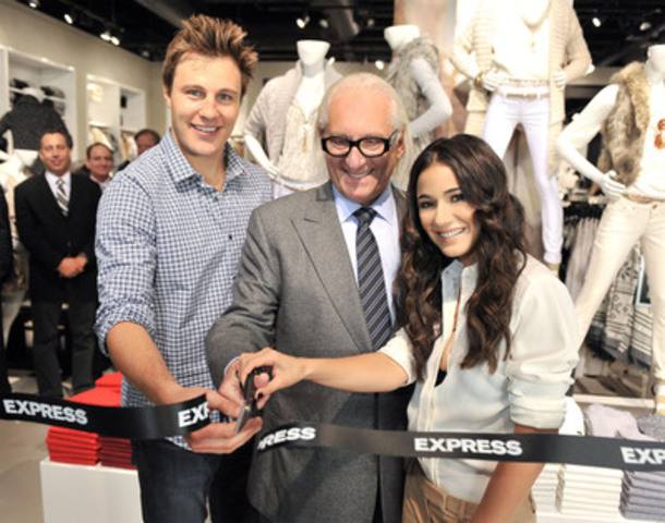 "Toronto Maple Leaf Luke Schenn, President and CEO of Express Michael Weiss and Actress Emmanuelle Chriqui attend the launch of ""Express"" celebrating its first store in Canada at Fairview Mall on September 22, 2011 in Toronto, Canada. (CNW Group/Express, Inc.)"