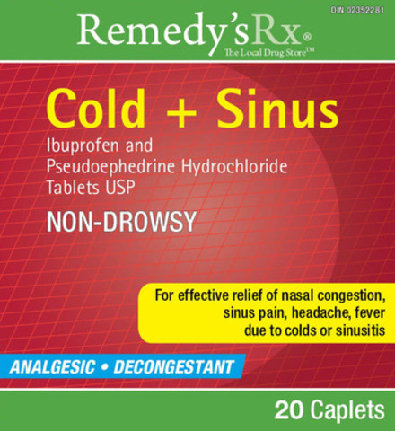 Remedy's Rx Cold + Sinus, 20 count (CNW Group/Vita Health Products)
