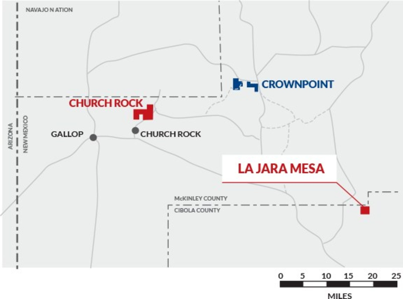 Figure 1: Laramide Resources Ltd. Projects in New Mexico, USA: Churchrock Uranium Project, Crownpoint Uranium Properties and La Jara Mesa Uranium Project.