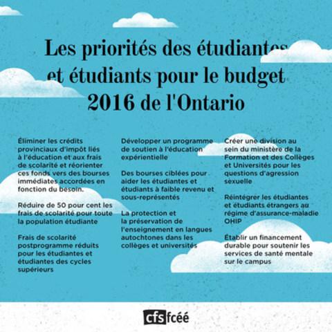 Les priorités des étudiantes et étudiants pour le budget 2016 de l'Ontario (Groupe CNW/Fédération canadienne des étudiantes et étudiants)