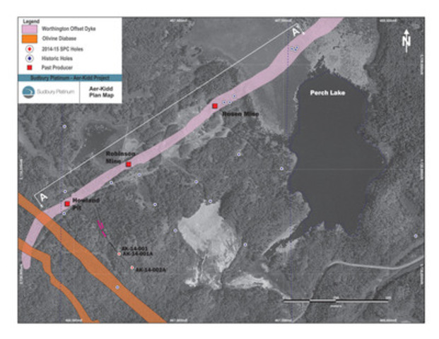 Figure 1: Plan Map of the Aer-Kidd Property (CNW Group/Transition Metals Corp.)