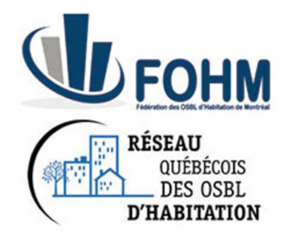 Logos de la FOHM et du RQOH (Groupe CNW/Réseau québécois des OSBL d'habitation (RQOH))