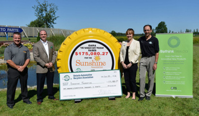 From left: Denis Desjardins, Sonshine Auto Parts; Andrew Horsman, Ontario Tire Stewardship; Kristen Lesko; The Sunshine Foundation of Canada and Steve Fletcher, Ontario Automotive Recyclers Association celebrate at Sonshine Auto Parts in Cumberland, Ont. The 2013 Tire Take Back event raised $175,080 for The Sunshine Foundation. Photo credit: Matthew Usherwood. (CNW Group/Ontario Tire Stewardship)