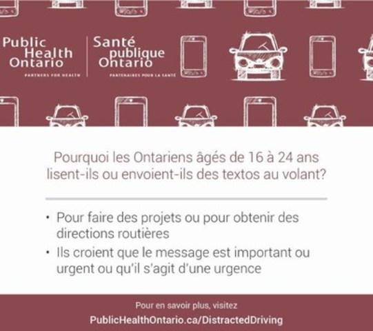 Pourquoi les Ontariens âgés de 16 à 24 ans lisent-ils ou envoient-il des textos au volant? (Groupe CNW/Public Health Ontario)