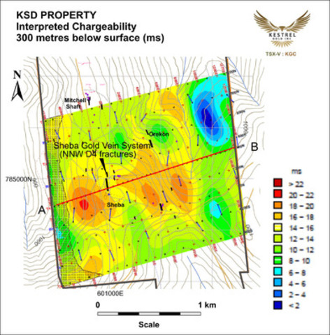 KSD PROPERTY - Interpreted Chargeability - 300 metres below surface (ms) (CNW Group/Kestrel Gold Inc.)