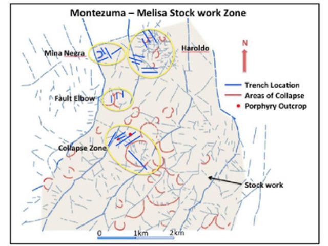 Appendix 1: Montezuma - Melisa Stock work Zone (CNW Group/Polar Star Mining Corporation)