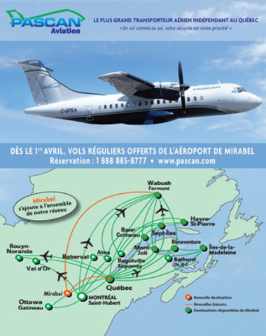Carte des destinations du réseau PASCAN (Groupe CNW/Pascan Aviation inc.)