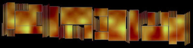 Maquette du projet de Steve Heimbecker, Paravent Mosaïque, destiné à l'écran mosaïque de l'Espace culturel Georges-Émile-Lapalme de la Place des Arts. Photo © Steve Heimbecker (Groupe CNW/Conseil des arts et des lettres du Québec)