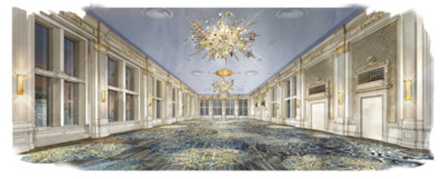 Rendering of the 5,000 square foot Crystal Ballroom renovations, which will incorporate an old world charm and modern design elements. (CNW Group/Omni Hotels & Resorts)