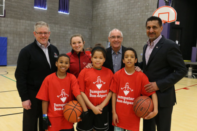 The Honourable Bal Gosal today announced $1.3 million in support from Sport Canada for Jumpstart, 100 per cent of which will go directly to helping financially disadvantaged kids participate in organized sport. Jumpstart's Landon French and Olympic Gold medallist, Rosie MacLennan helped celebrate the announcement with the Brampton Heroes Camp. (CNW Group/Canadian Tire Jumpstart)