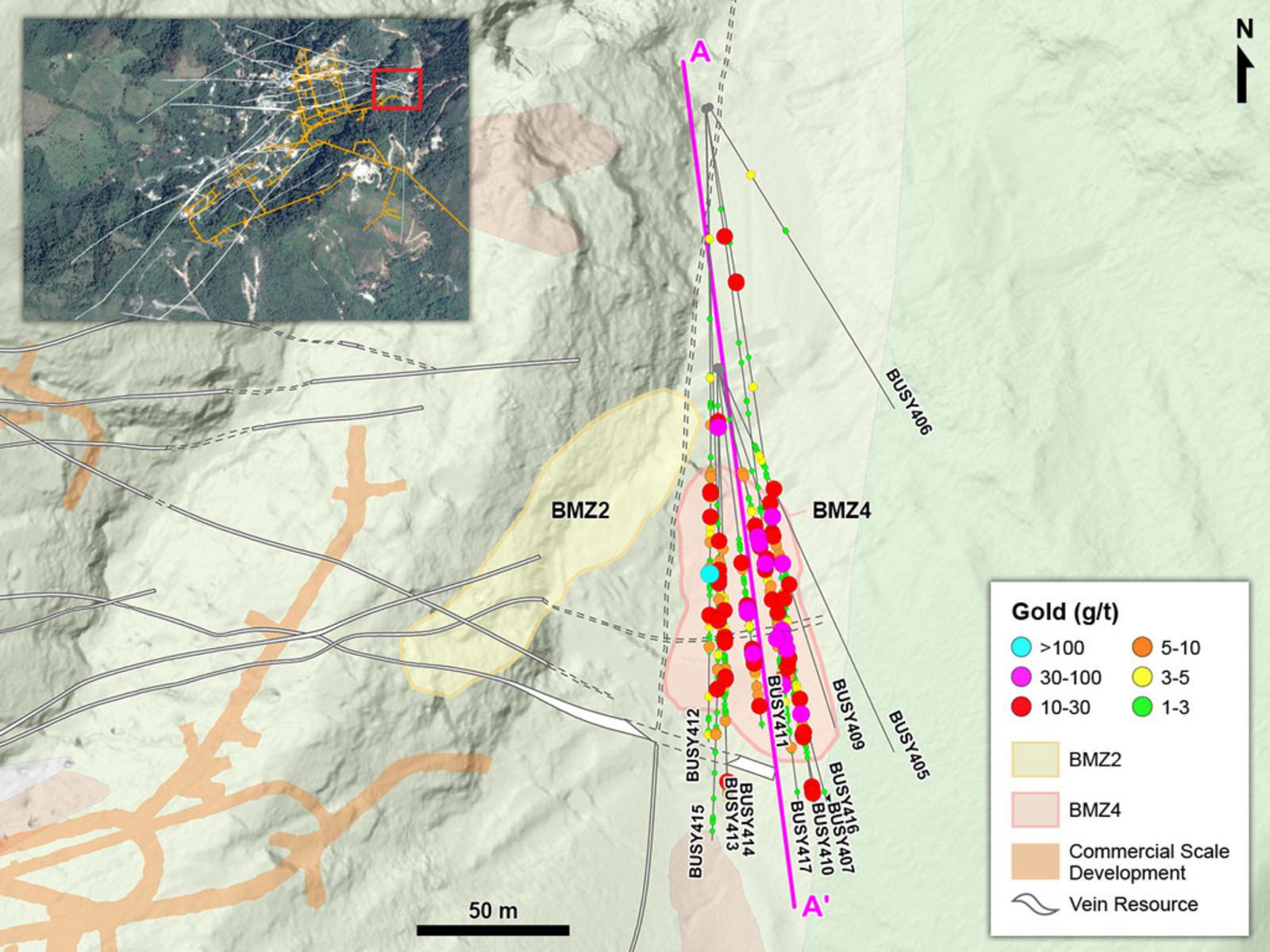 Figure 1 – Plan View of Drilling in Eastern Yaraguá System Targeting BMZ4