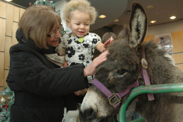 Linda Jacob and her granddaughter Jasmine Black, one, pet a donkey at a World Vision party in Mississauga, ON. The party was held to thank Canadians for their generosity and promote World Vision Gifts as a thoughtful last-minute holiday present. (CNW Group/World Vision Canada)