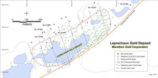 Figure 1: Location of new drill holes VL-13-529 to VL-13-534, Leprechaun Gold Deposit. (CNW Group/Marathon Gold Corporation)