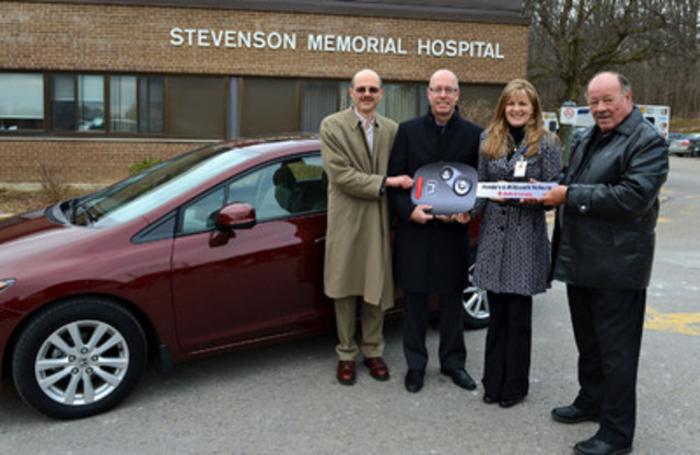Honda celebrates the sixth millionth vehicle produced at its assembly plant in Alliston, Ontario. To mark this milestone Honda donated an all-new Civic sedan to Stevenson Memorial Hospital to support ongoing fundraising initiatives. (Left to right: Gilles Madore, Vice President, Honda of Canada Mfg., Dave Gardner, Vice President, Sales & Marketing, Honda Canada Inc., Annette Jones, President and CEO, Stevenson Memorial Hospital, Glenn Rae, President, SMH Foundation.) (CNW Group/Honda Canada Inc.)