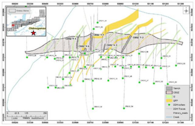 Figure 3: Plan view of the CBSZ showing outline of quartz-carbonate-sericite-pyrite zone and cross cutting QFP (quartz feldspar dikes) (CNW Group/Chalice Gold Mines Limited)