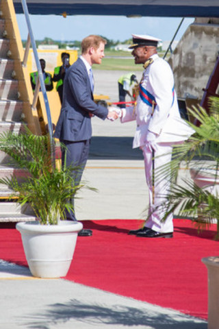 Greeting of Prince Harry of Wales by the Governor General of Antigua and Barbuda Sir Rodney Williams upon ...