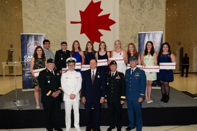 Brigadier-General Lowell Thomas, Commander Robert Johnston, HCol Blake Goldring, Founder and Chair of Canada Company, Lieutenant General Marquis Hainse and Brigadier-General Sean Friday with the 2016 Canada Company Scholarship Fund Recipients. (CNW Group/Canada Company)