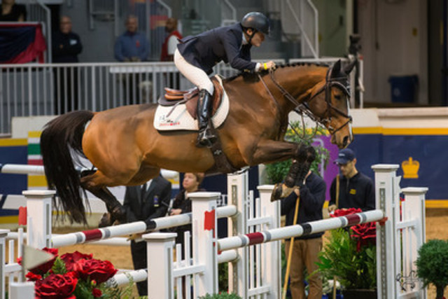 Olympic team silver medalist Leslie Howard of the United States placed second riding Utah in the $50,000 Weston Canadian Open. (CNW Group/Royal Agricultural Winter Fair)