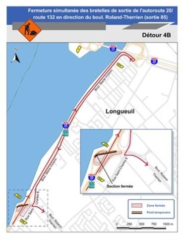 Pour le détour 4B : Carte illustrant le détour 4B pour la fermeture de la bretelle menant de l'autoroute 20 / route 132 est au boul. Roland-Therrien. (Groupe CNW/Ministère des Transports)