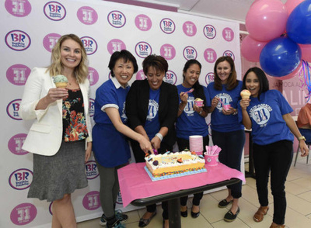 Baskin-Robbins celebrates its 70th Anniversary at the very first shop to open in Canada, at 1018 Eglinton Ave. West, where 70 cent scoops are being sold for the entire day in support of the SickKids Foundation. Representatives from Baskin-Robbins and the SickKids Foundation were present for the official cake cutting. (CNW Group/Baskin-Robbins Canada)