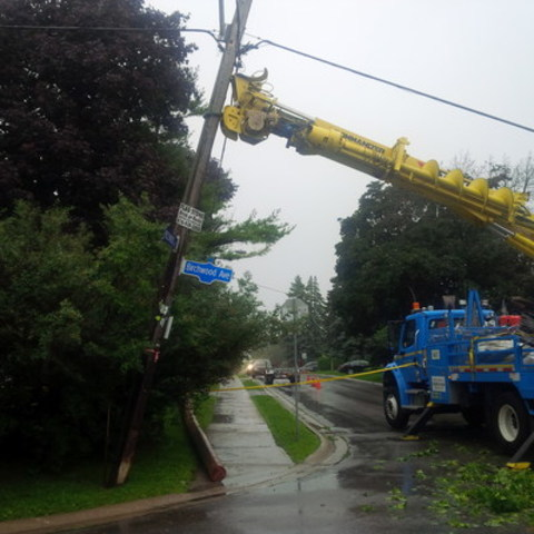 Toronto Hydro equipment suffered extensive tree damage during this past weekend's storm (CNW Group/Toronto Hydro Corporation)