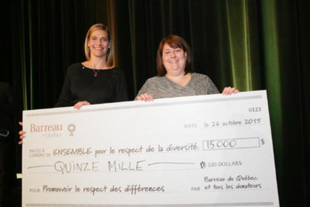 Cérémonie de remise de la distinction Avocat émérite 2015 - ensemble pour le respect de la diversité reçoit du Barreau du Québec la somme de 15 000 $ (Groupe CNW/Barreau du Québec)