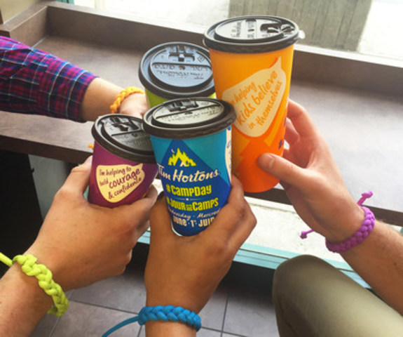 In celebration of the 25th anniversary, Tim Hortons launched a new cup design that showcases the life-changing benefits of Camp Day. Available in four different colours (orange, green, blue and purple), the cups feature speech bubbles showing the impact of what buying a cup of coffee can have on kids' experience at camp including: helping kids believe in themselves, helping to create a brighter future, helping to build courage and confidence, and helping kids to be their best. (CNW Group/Tim Hortons)
