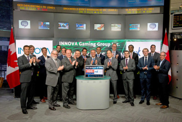 Richard Weil, Chairman & CEO, INNOVA Gaming Group Inc. (IGG) joined Ungad Chadda, Senior Vice President, Toronto Stock Exchange to open the market. INNOVA develops games and products for the global gaming industry, with focus on state and provincial lotteries. INNOVA Gaming Group Inc.(IGG) commenced trading on May 5, 2015. For more information please visit www.innovagaminggroup.com. (CNW Group/TMX Group Limited)