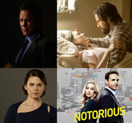 L to R: Kiefer Sutherland in DESIGNATED SURVIVOR, Mandy Moore and Milo Ventimiglia in THIS IS US, Hayley Atwell in CONVICTION, and Piper Perabo and Daniel Sunjata in NOTORIOUS (CNW Group/CTV)