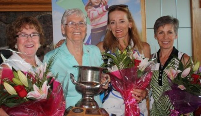 Congratulations to the winners of the 27th Annual 65 Roses Ladies Golf Classic 2016, Left to Right: Nancy Matthews, Rita Owen (Event Chair), Germaine Matheson, Donna Grasdal, Darlene Peacock (Missing) (CNW Group/Cystic Fibrosis Canada- Calgary & Southern Alberta Chapter)
