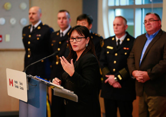 Minister of Health, Leona Aglukkaq announces proposed new Marihuana for Medical Purposes Regulations in Maple Ridge, BC. (CNW Group/Health Canada)