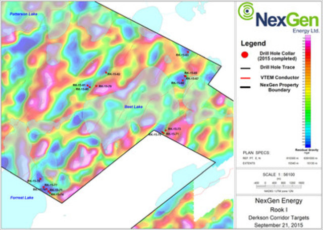 Figure 6: Derkson Conductor Corridor Drill Hole Locations (CNW Group/NexGen Energy Ltd.)