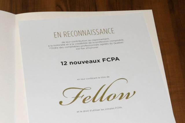 Le titre de Fellow est remis annuellement à un nombre restreint de CPA parmi les 37 000 membres de l'Ordre. Ces 12 nouveaux FCPA rejoignent donc un groupe sélect qui compte maintenant 639 personnes qui se sont illustrées dans toutes les sphères d'expertise de la profession comptable  (Groupe CNW/Ordre des comptables professionnels agréés du Québec)
