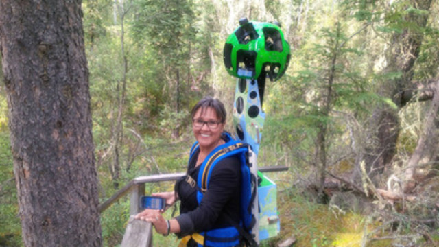 The Honourable Leona Aglukkaq, Minister of the Environment and Minister responsible for Parks Canada, using the Google Trekker to capture images in the Wood Buffalo National Park. (CNW Group/Parks Canada)