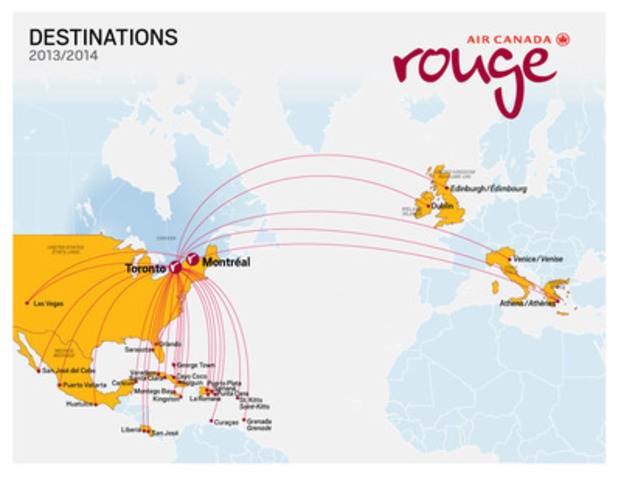 Air Canada rouge a annoncé aujourd'hui une importante expansion de son réseau : de nouvelles destinations vacances dans les Caraïbes, au Mexique, en Floride et à Las Vegas pour l'hiver 2013-2014, totalisant un ensemble de 23 destinations soleil, auparavant desservies par Air Canada. Tous les vols se feront à bord d'un Airbus 319 sauf les vols Toronto-Las Vegas et Toronto-Montego Bay qui s'effectueront à bord d'un Boeing 767-300ER, aircanada.fr.mediaroom.com. (Groupe CNW/Air Canada rouge)