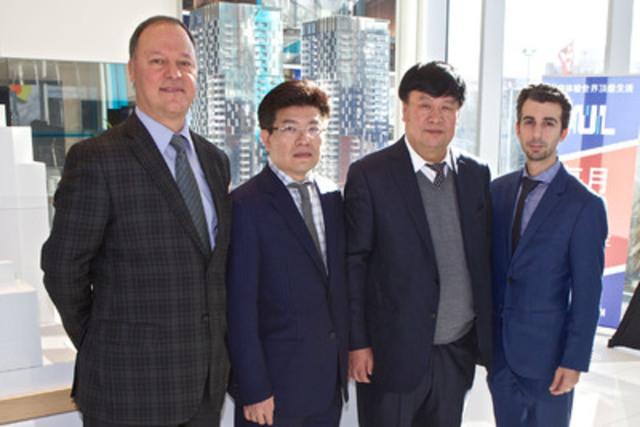 De gauche à droite: Philip Cortese (vice-président exécutif, finances, Groupe Brivia), Kheng Ly (président et directeur général, Groupe Brivia), Qing Han (président, Gansu Tianqing Real Estate), Steve Di Fruscia (président, Groupe Tianco). (Groupe CNW/YUL Condominiums inc.)