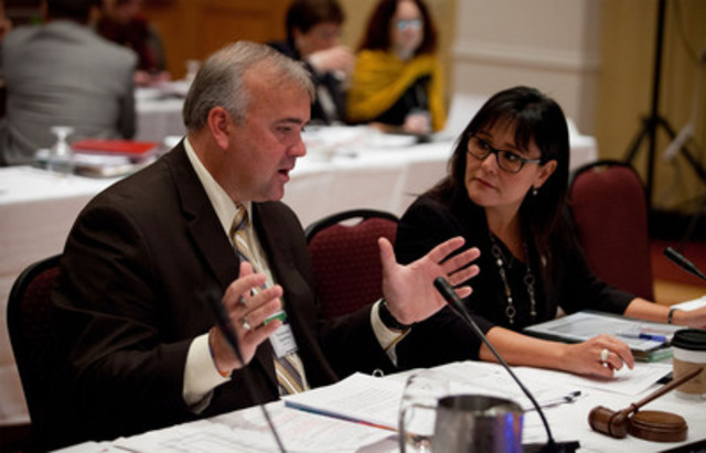 Co-chairs of the Federal, Provincial and Territorial Health Ministers Meeting, Leona Aglukkaq and David Wilson discussing Canadian health priorities. (CNW Group/Health Canada)