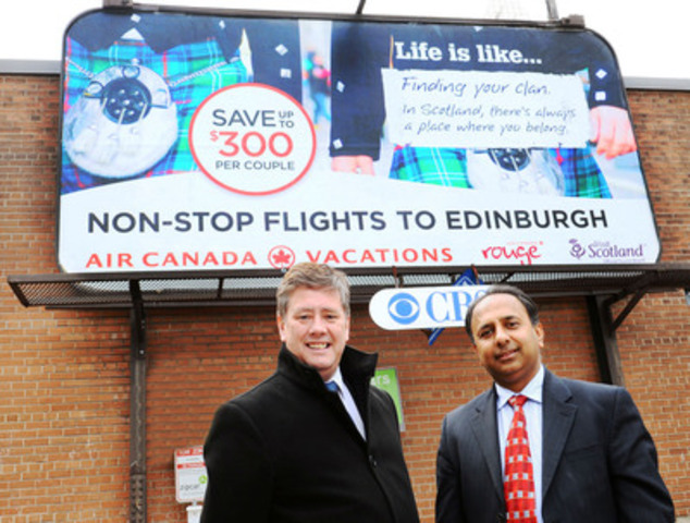 Transport Minister Keith Brown and Vijay Bathija Air Canada Rouge. (CNW Group/VisitScotland)