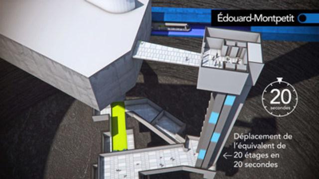 Schématisation de la station Édouard-Montpetit permettant une connexion entre le REM et la ligne bleue du métro de Montréal. (CNW Group/CDPQ Infra Inc.)