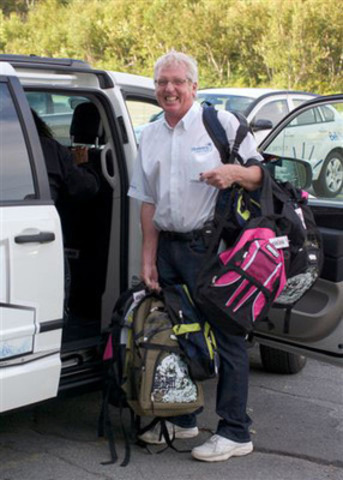 Ron Nicholson, employee and Bell Aliant Pioneer Volunteer, collected Nova Scotia backpacks as part of his role ...