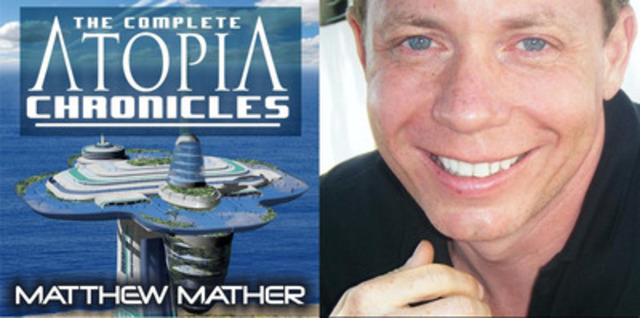 Book cover of #1 best-selling 'Atopia Chronicles', and head shot of author Matthew Mather (CNW Group/PhutureNews Publishing)