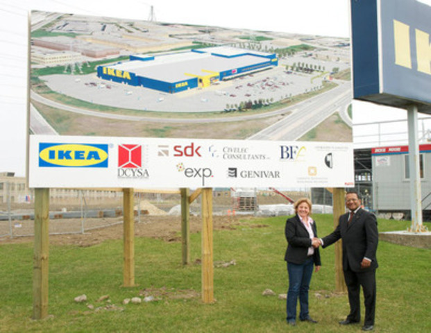 Alan DeSousa, Mayor of Saint-Laurent and Danielle Plamondon, IKEA Montreal Store Manager, mark the commencement of construction on North America's largest IKEA store (CNW Group/IKEA Canada)