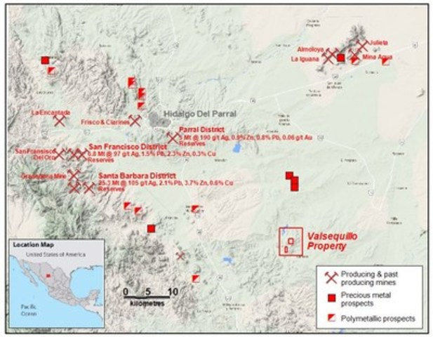 Figure 1. Valsequillo Location Map (CNW Group/Wealth Minerals Limited)