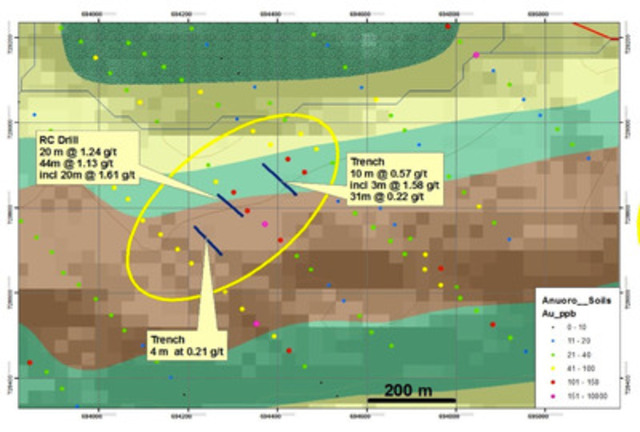 North Zone Map supplied by Newmont Ghana Gold Limited (CNW Group/AMI Resources Inc.)