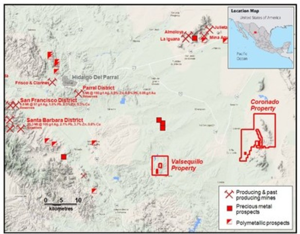 Location of the Coronado property and significant mining districts in the area. (CNW Group/Wealth Minerals Limited)