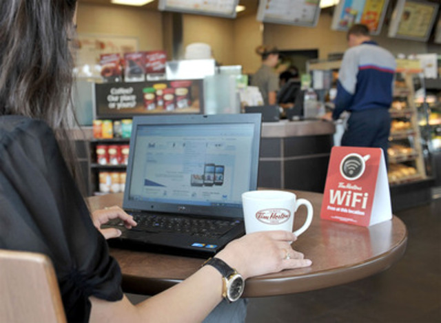 Tim Hortons has begun rolling out high-speed Wi-Fi and expects more than 90 per cent of its restaurants in Canada will have wireless access by September -- just in time for the new school year. (CNW Group/Tim Hortons Inc.)