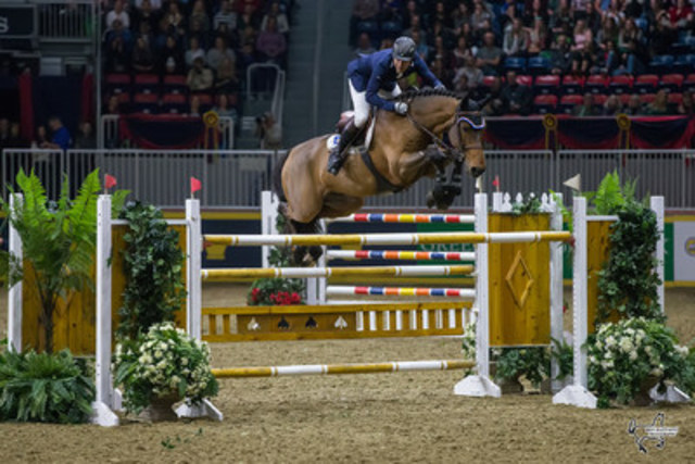 Hyde Moffatt of Brantford, ON, and Granturo finished third in the $100,000 Greenhawk Canadian Show Jumping Championship on Saturday, November 5, at Toronto's Royal Horse Show. Photo by Ben Radvanyi Photography (CNW Group/Royal Agricultural Winter Fair)