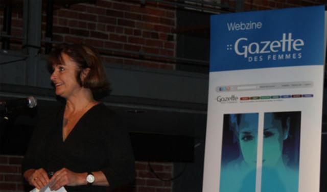 La présidente du Conseil du statut de la femme Mme Julie Miville-Dechêne au lancement du webzine Gazettedesfemmes.ca (Groupe CNW/Conseil du statut de la femme)