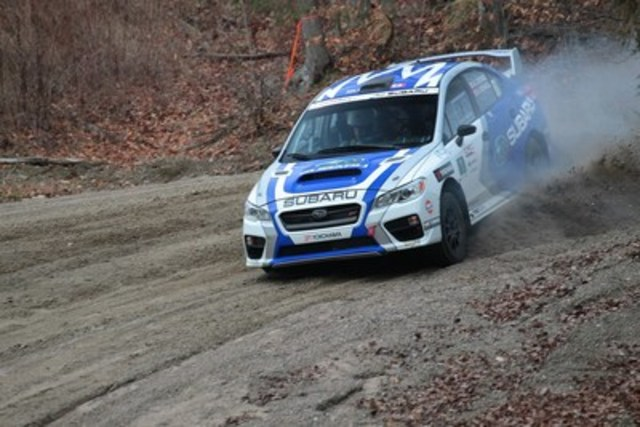 Subaru Rally Team Canada concludes the 2015 Canadian Rally Championship (CRC) season with their 11th manufacturer title and also captured the driver (Antoine L'Estage) and co-driver (Alan Ockwell) championships. © 2015 Rocket Rally Racing by Philip Ericksen/Radikal Videos. (CNW Group/Subaru Canada Inc.)